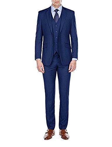Ash & Maui 3 Piece Vested Slim Fit Suit (Blue, 34S x 28W)
