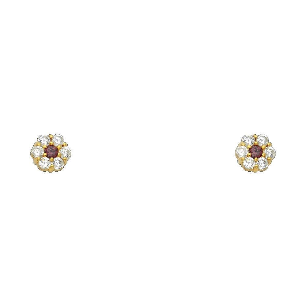 June Wellingsale 14K Yellow Gold Polished Flower Birth CZ Cubic Zirconia Stone Stud Earrings With Screw Back