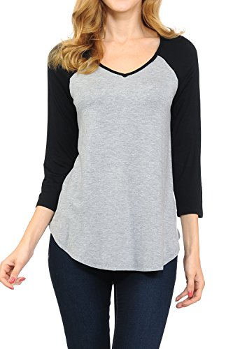SHAMAIM Womens V-Neck 3/4 Raglan Sleeve Long T-Shirt Tunic Top Heather Gray Black Medium