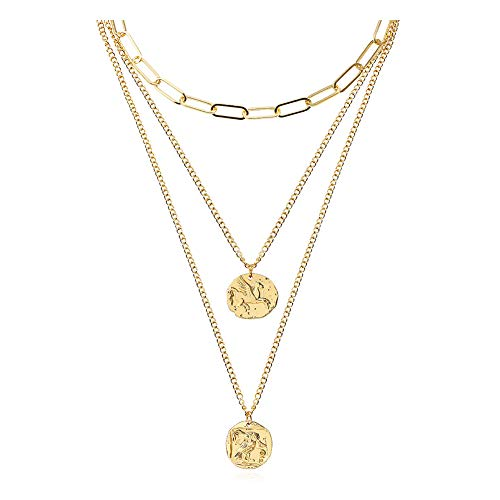 FAMARINE Coin Layered Pendant Necklace (Setseparate), 3 Layers Gold Chain Pendant Layering Necklace for Women Girls Birthday,