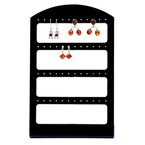 CozyCabin 48-hole Jewelry Display Rack Vintage Earring Holder Hanger Jewelry Stand Organizer Earring Display (Black B)