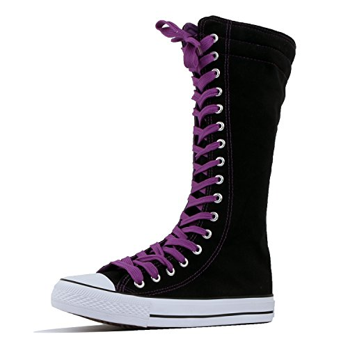 High Sneaker Boot - Women's Tall Canvas Lace Up Knee High Sneakers (5 B(M) US, Black Purple Canvas-Short)