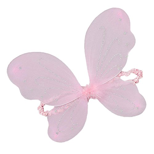 (Girls Pastel Pink Sparkle Butterfly Wings Costume Accessory)