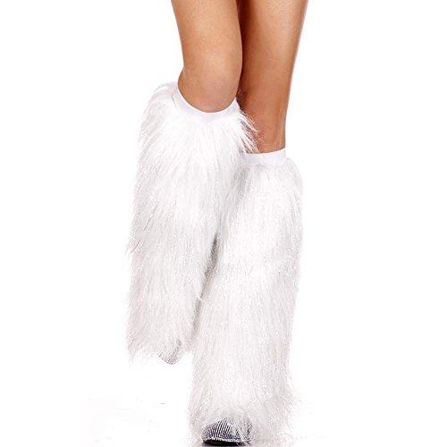 MUSIC LEGS Women's Faux Fur Leg Warmers, White, One Size (White Fluffy Leg Warmers)