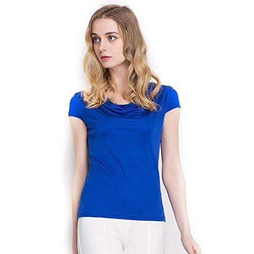 100% Silk Top (Zylioo 100% Mulberry Cap Sleeve Layering Tee Scoop Neckline Comfy Tank Top Womens Sleeveless T Shirt Blue L)