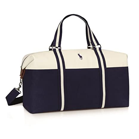e8a5165108c44 RALPH LAUREN BLUE   WHITE POLO DUFFLE HOLDALL DESIGNER GYM BAG WEEKEND  OVERNIGHT BAG  NEW  Amazon.co.uk  Sports   Outdoors