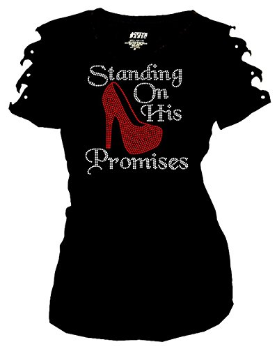 Fashion2ne1 Standing On His Promises Rhinestones T-Shirt Ripped Cut Out Red Short (Large)