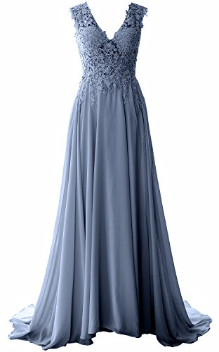 Formal Elegant Long Prom Gown Blue Dress Chiffon V Lace Neck Vintage Evening MACloth Steel a1zwRBB