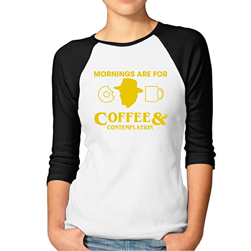 LOYRA Women's 3/4 Sleeve Coffee And Contemplation Climb T Shirt Black XXL