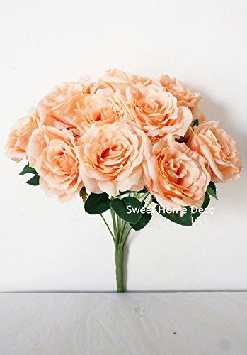 Sweet Home Deco 14'' One Dozen Sweet Roses Silk Artificial Bouquet Purple(12 Stem/12 Flower Heads)(valentine's Day/wedding/home Decorations) (Ivory) - Ivory Silk Rose