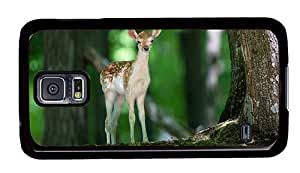 Hipster leather Samsung Galaxy S5 Case A Fawn in Forrest PC Black for Samsung S5