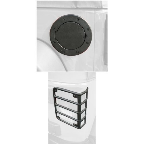 Rugged Ridge  Black Aluminum Fuel Door Cover and Rear Euro Tail Light Guard Set