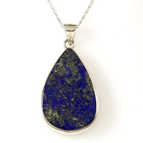 Sterling Silver Genuine Pear Shape Dark Blue Lapis Lazuli Handmade Teardrop Pendant 16+2 inches Chain ()