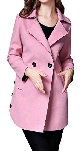 Winwinus Womens Outerwear Mid Length Lapel Autumn Winter Peacoats Pink M