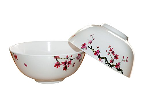 Ramen Noodle Soup Bowl in Cherry Blossom (Set of 2 with spoons)