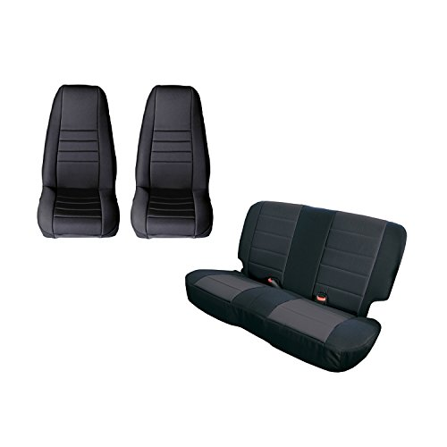 Rugged Ridge 13290.01 Black Seat Cover Kit, 1980-1990 Jeep CJ/Wrangler YJ, 2 -
