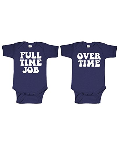 FULL TIME JOB - OVERTIME - twins funny - TWO Infant Bodysuit COMBO, 12m, Navy Combo Suit