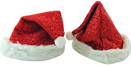 Santa Hat Glittery Christmas Holiday Couples Clause Cap for Him and Her, Set of 2 -