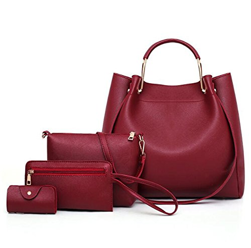 Solid Card Fashion Color Bag Wallet bucket Bag red Large Handbag Capacity Leather Crossbody Package Mother Pu Lxyiun zqCxd6x