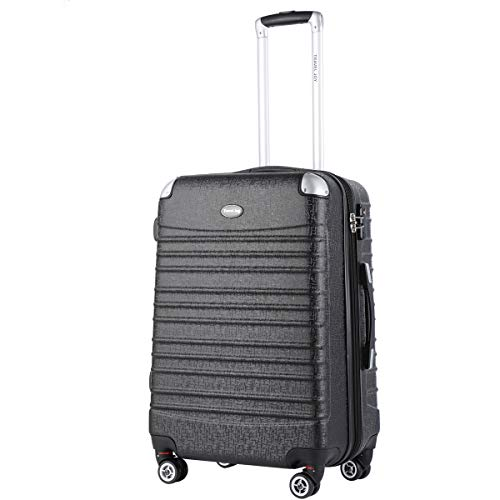 Travel Joy Expandable Luggage Carry on Suitcase TSA Lightweight Hardside Luggage Spinner Wheels Luggage (Black-1,1 pc carryon (20