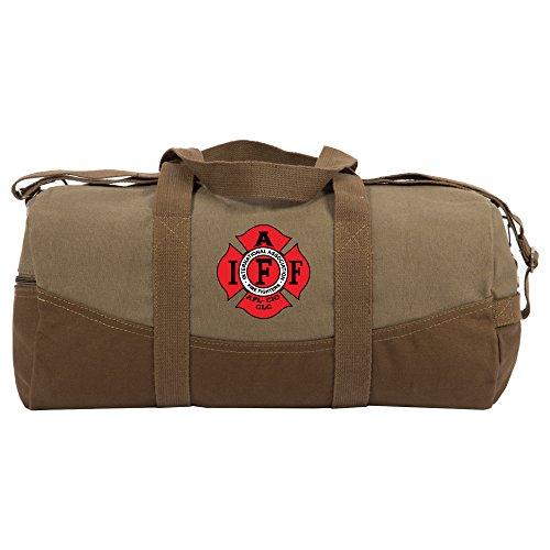 IAFF Fire Fighters Logo Two Tone 19 Duffle Bag, Brown Bottom, Detachable Strap