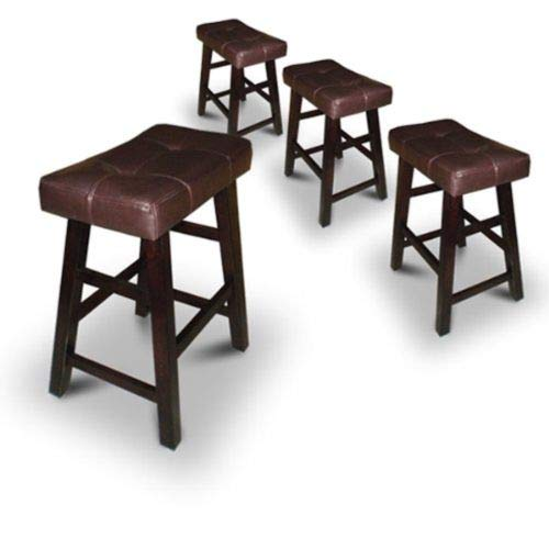 Legacy Decor 4 24 or 29 Dark Espresso Wood Bar Stools with Bonded Faux Leather Seat 24 High