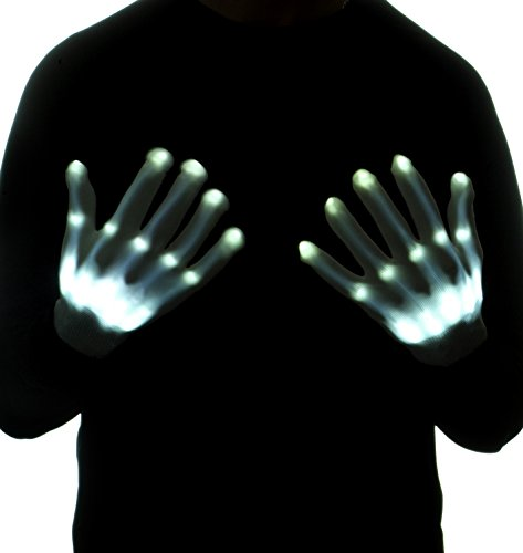 Ultimate LED Light Up Skeleton Gloves- 12 Color changeable-Light Up-Looks Like You Have Skeleton (Halloween Best Couple Costumes)