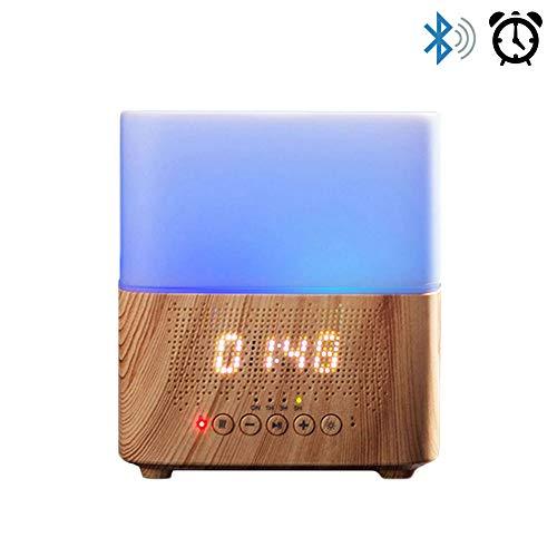 Daroma Alarm Essential Oil Diffuser,300ml Aromatherapy Scent Mist Fragrance Ultrasonic Room Humidifier Home Office Gift, Alarm Clock, Bluetooth Speaker, Night Lamp, Ecru Wood