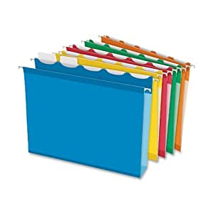 Pendaflex Ready-Tab Extra-Capacity Reinforced Hanging Folders with Lift Tab Technology, Letter Size, 5-Tab, Assorted Colors, Box of 20 Folders (42700)