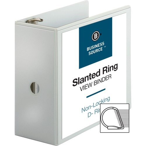 Business Source 5-Inch Slant Ring View Binder - White