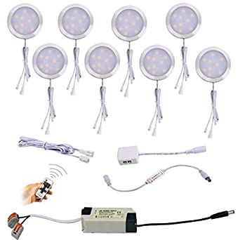Aiboo Linkable Under Cabinet Led Lighting 12v Dimmable Puck Lights Hardwired With Wireless Rf