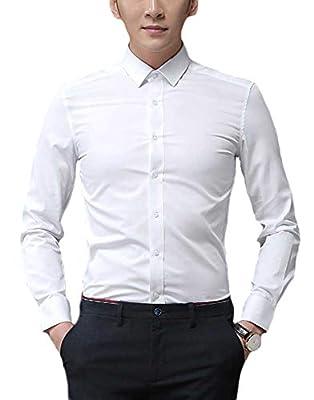 Plaid&Plain Men's Slim Fit Dress Shirts Spread Collar Poplin Shirt Wrinkle Free Shirts