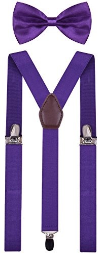 BODY STRENTH Mens Kids Bow Tie and Suspenders Adjustable Purple 49 Inches by BODY STRENTH