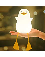 Night Light for Kids, Cute Seagull Soft Silicone Baby Nursery Night Light, Rechargeable Bedside Lamp with Pinch/Tap Control, Cute Gift for Toddler, Children, Boys, Girls