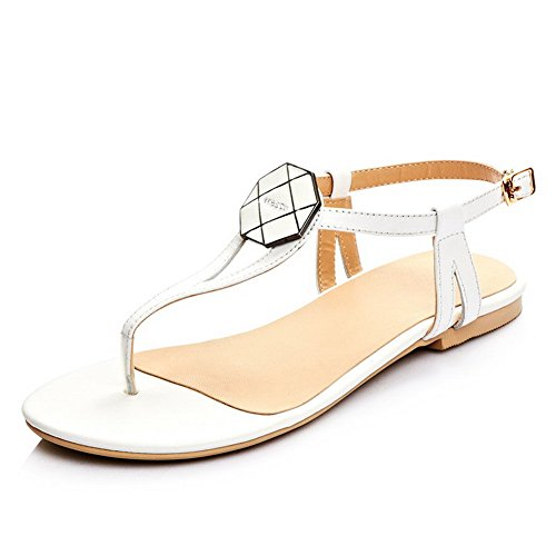 Amoonyfashion Womens Frosted Split Teen Geen Hak Pull On Solid Sandals White