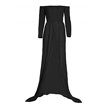 265b2fb97c384 iRunzo Maternity Chiffon Gown Split Front Photography Dress Pregnant  Photoshoot Skirts (Black Sleeveless)