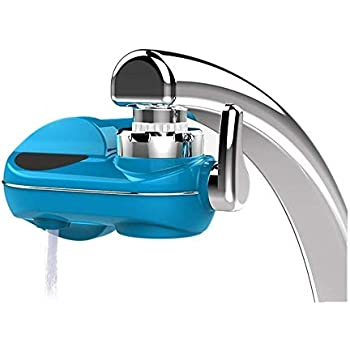 PowMax Water Faucet Filtration System,Faucet Water Filter with Five-Stage Filteration Technology Chrome,Removes Lead,Flouride & Chlorine,Fits Standard Faucets,Replaceable Filter Element (Blue)