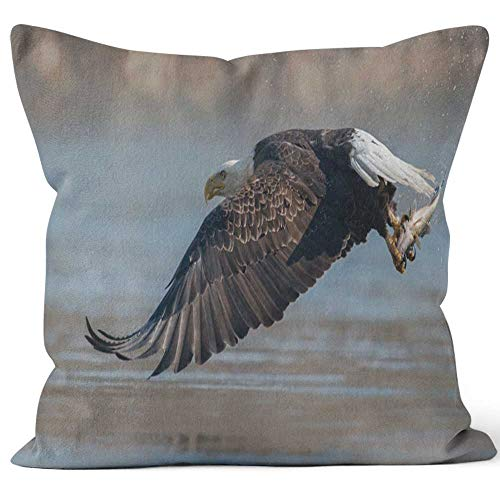 Nine City Bald Eagle Throw Pillow Cover,HD Printing for Sofa Couch Car Bedroom Living Room D??cor