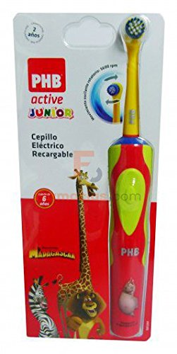 Phb - Cepillo dental eléctrico active junior madagascar azul: Amazon.es: Salud y cuidado personal