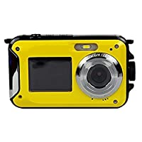 Dual Screens Waterproof Digital Camera with 2.7 Inch LCD Display,Underwater Sport Camera,Point and Shoot Camera,Mini and bright yellow color Camera for Kids. by Made in China