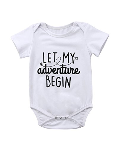 Newborn Baby Boy Girl Romper Let My Adventure Begin Letters Short Sleeve Bodysuit 0-24M (0-6 (Kids Adventure Time Onesie)