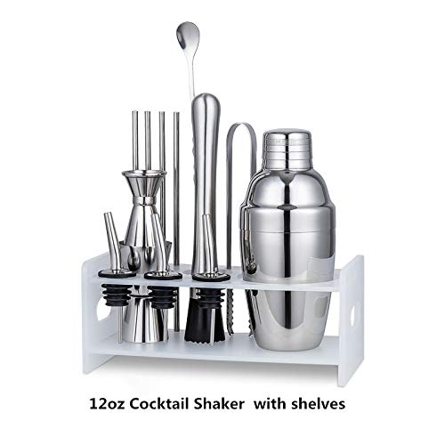 Premium Cocktail Shaker Bartender Kit 12-25 Ounces Steel Cocktail Shaker ?Mixing Spoon, Measuring Jigger and Ice Tong Plus Cocktail Recipes, Bar Tools for Martini Drink Mixer Barware
