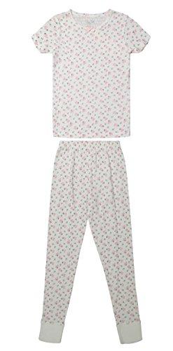 Girls Short Sleeve Pajama Top & Pants Bottom Toddler Kid Sleepwear 2PC Set (8, White & Pink Lady / Flower) (Satin Girls Capris)