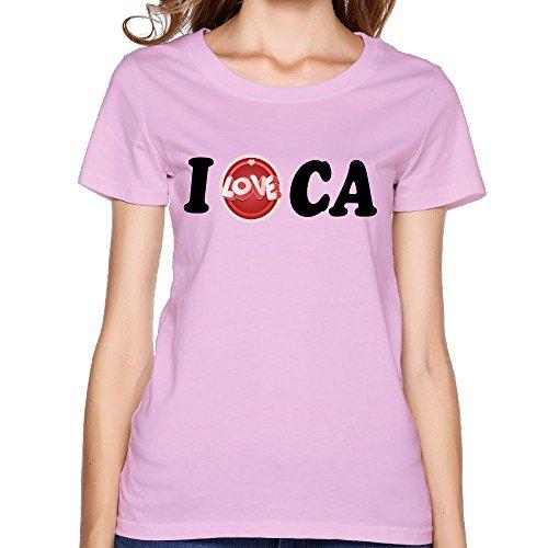 - YRNE Women's I Love CA California T-shirt L Pink