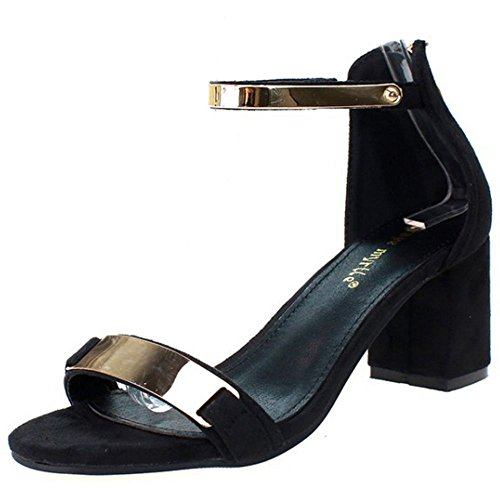 COOLCEPT Zapatos Mujer Moda Simple Al Tobillo Tacon Ancho medio Vestir  Sandalias Negro 80f40575db69d