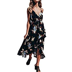 Foruu Maxi Dresses For Womens Ladies Sleeveless Sexy Floral Printed V Neck Halter Backless Sexy Beach Party 2019 Office Elegant Summer Best Gift For Wife Business Work Casual Sexy