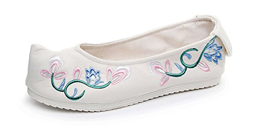 AvaCostume Womens Toe-Spring Embroidery Shoes National Style Rubber Sole Cloth Shoes White yW0qwXZLOp