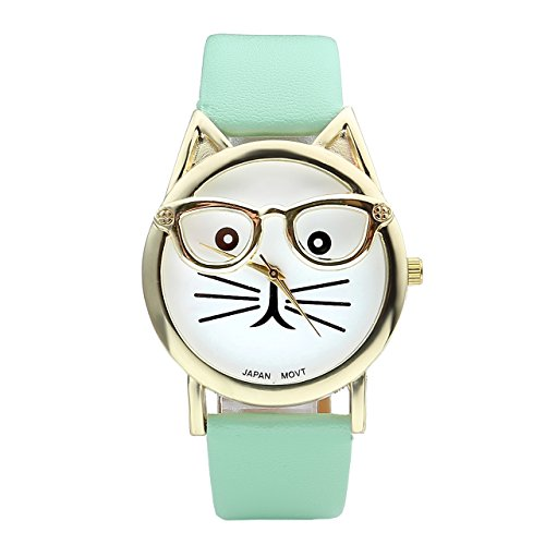 (Top Plaza Fashion Women's Platinum Plated Mini Cat Glasses Analog Quartz Watch, PU Leather Strap Gold Tone - Mint Green)