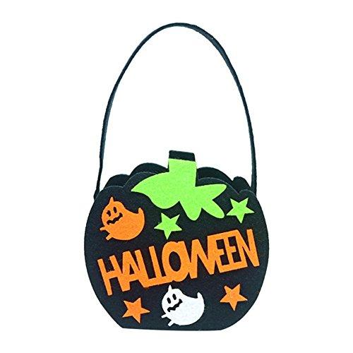 Vipeco Non-Woven Pumpkin Handbag Gift Pouch Candy Bag Halloween Decoration (Black) -