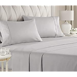 Queen Size Sheet Set – 4 Piece Set – Hotel Luxury Bed Sheets – Extra Soft – Deep Pockets – Easy Fit – Breathable & Cooling – Wrinkle Free – Comfy – Light Grey Bed Sheets – Queens Sheets – 4 PC